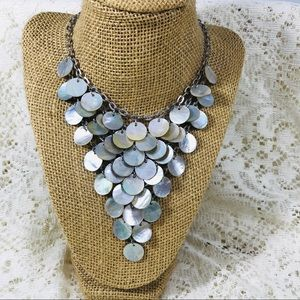 Vintage Abalone Bib Statement Necklace
